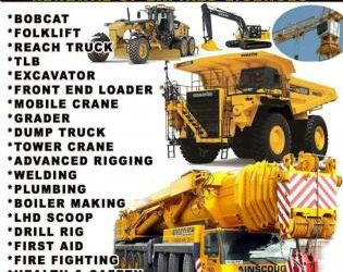 Earthmoving machines 777 dump truck Drill rig LHD scoop Front Loader Excavator training school