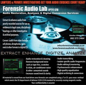 Forensic Audio Services – Sound Cleanup – Audio Authentications