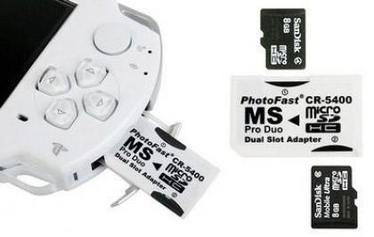 Psp Memory card Adapters | TAKES 2 SD CARDS