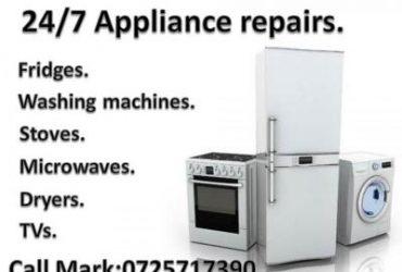 Stove repairs, Washing machine repairs, Fridge repairs, TV