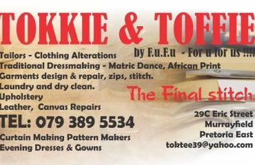 Tokkie and Toffie Clothing Alterations specialists , Cutter, Repairs, Zips, Sewing, Designs, Clothier Tailors.