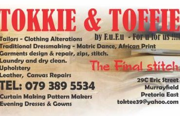 Tokkie & Toffie Fashion Designers, Clothing Alterations ,Tailors, Trimmers ,Leather work, Upholstery One Stop Brand