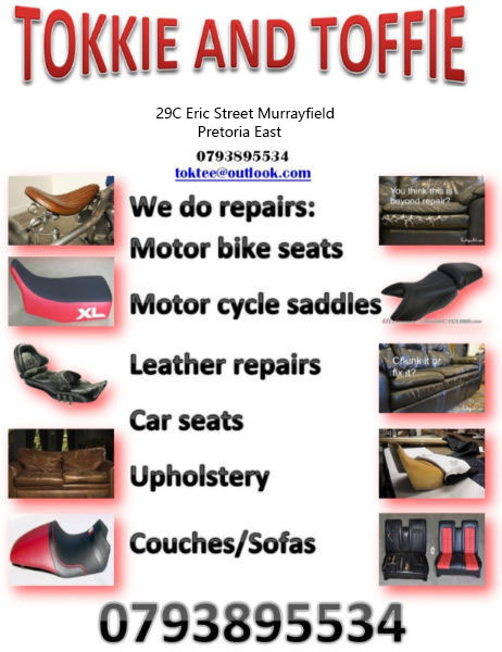 Tokkie and  Toffie Fashion Designers , Clothing Alterations , Auto Trimmer ,Upholstery Services , canvas work, Tents Gazebos, Interior Designers We are a Big Team we Employ Best Designers,Cutters,Seamstress , Tailors