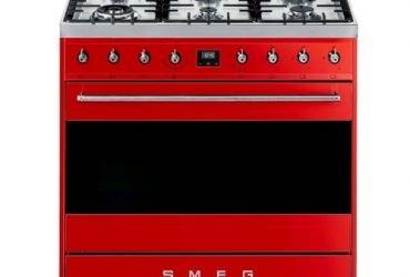 Smeg 90cm Red Symphony 6 Burner Gas Hob Cooker / Electric Oven – Model: C9MARSSA9