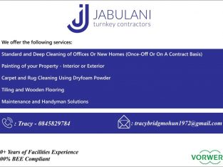jabulani Turnkey contractors and cleaning