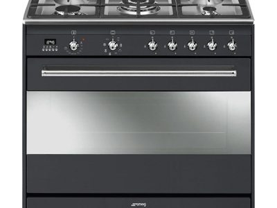 Smeg 90cm 5 Burner Black Gas/Electric Stove – SSA9