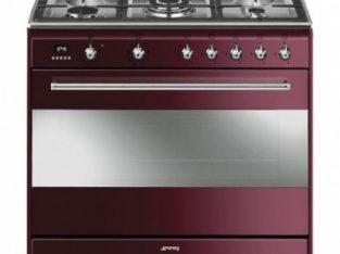 Smeg 90cm 5 Burner Black Gas/Electric Stove