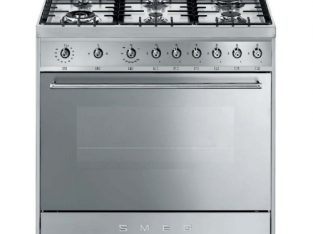 SMEG 90CM 6 BURNER STEEL FULL GAS COOKER.