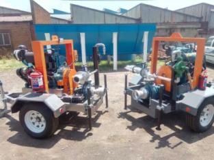 Diesel water pump. Irrigation pump. Mobile water p