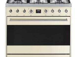 SMEG 90cm 6 Burner Gas Hob / Electric Stove Cream