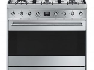 Smeg 90cm Stainless Symphony White Gas Cooker