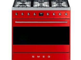 Smeg 90cm Red Symphony 6 Burner Gas Hob Cooker,