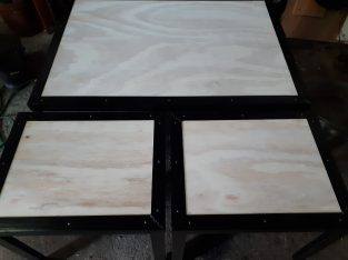 #industrial arts coffee table and two (2)footrests