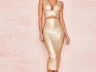 Gold Bandage dress 2 piece
