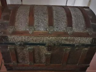 Antique Zinc covered Saratoga Steamer Trunk with c