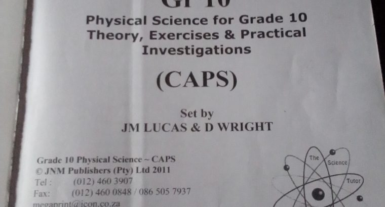 Physical Science grade 10 CAPS textbook