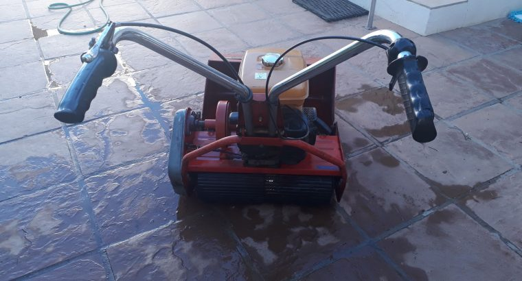 Self-propelled roller petrol lawnmower