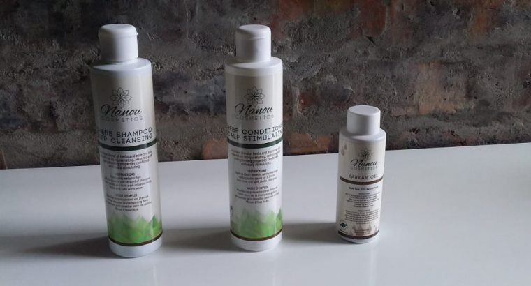 Chebe hair food, powder, karkar oil and shampoo